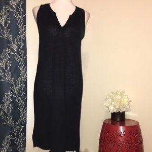 Vince Navy Linen Sleeveless Tank Dress V-Neck